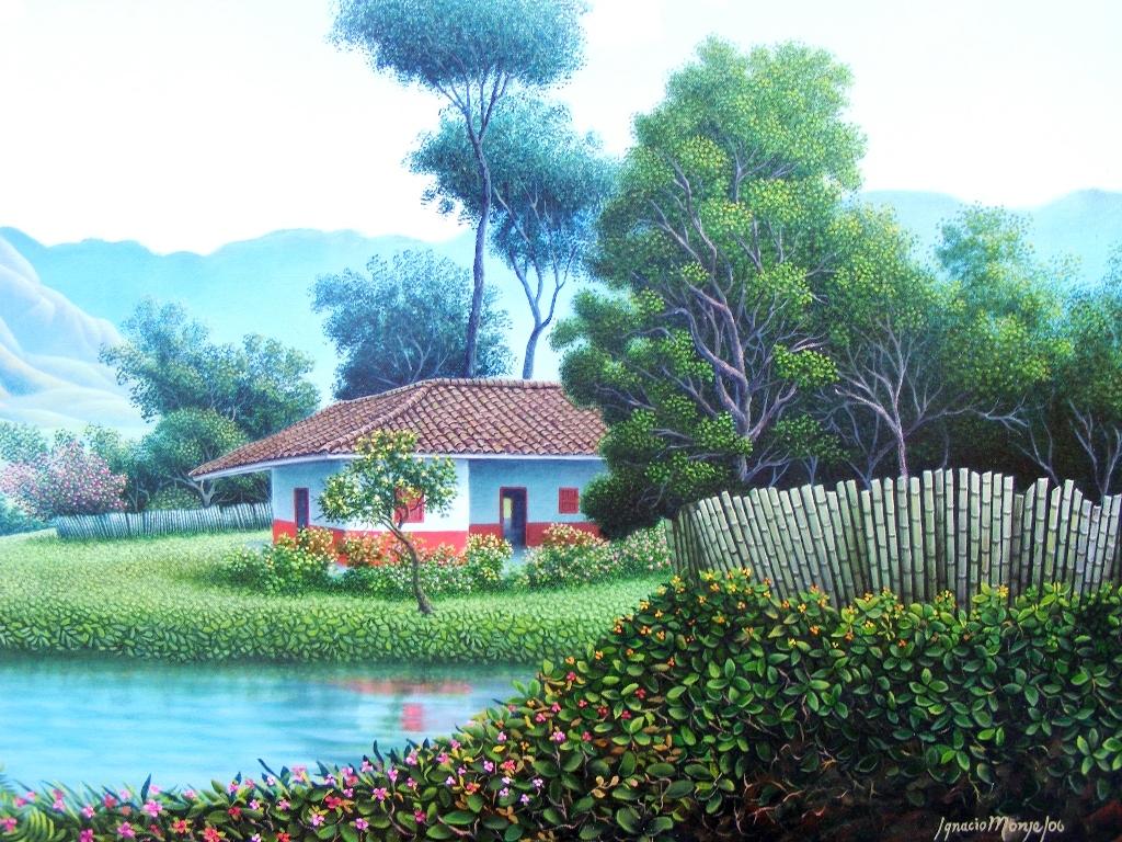 Cuadros modernos pinturas y dibujos paisajes para cuadros - Paisajes de casas de campo ...