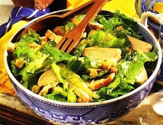 Picture Chicken Caesar Salad on blue bowl