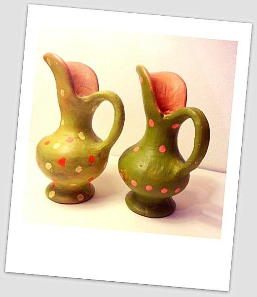 Jarritas decorativas de cerámica pintadas con lunares