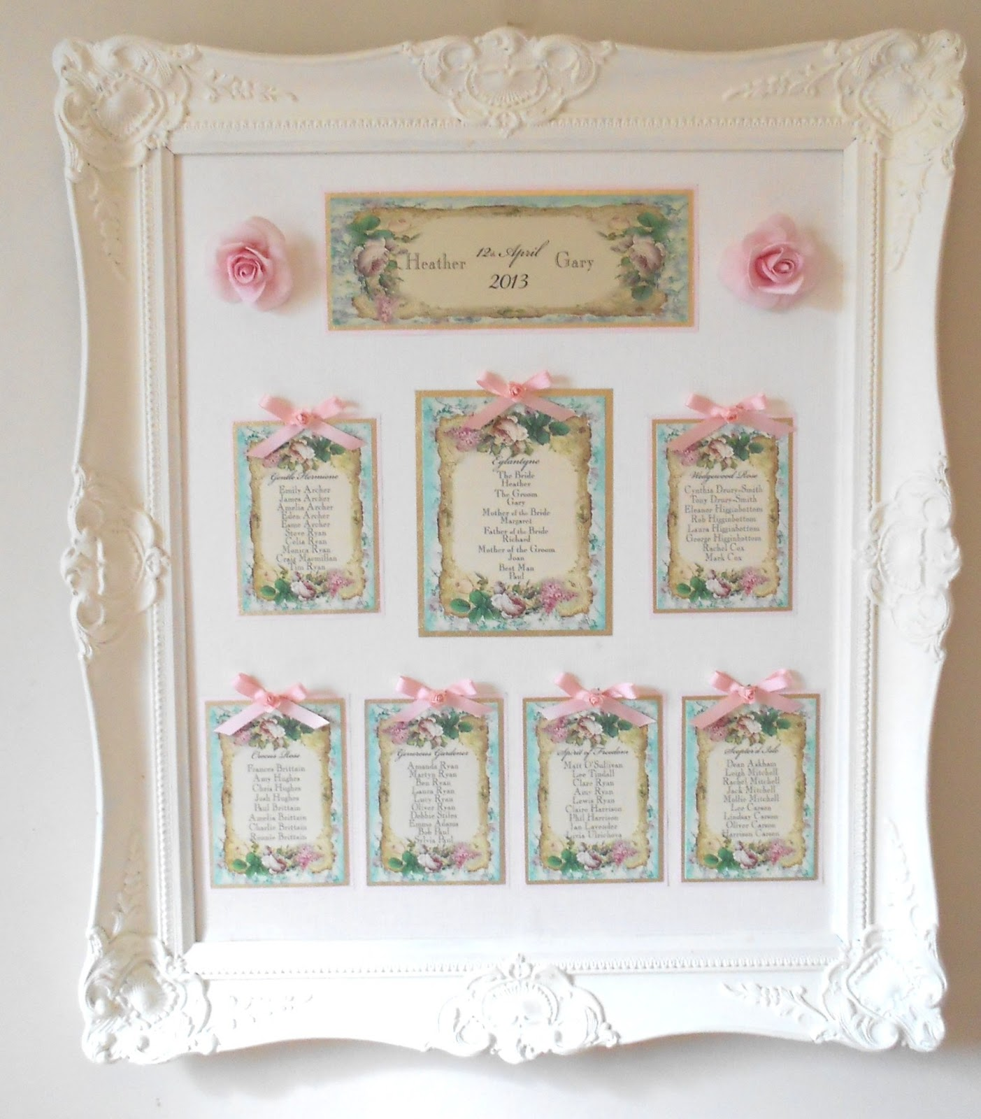 more chic than shabby vintage wedding table plan