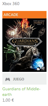 Oferta en Xbox Live, juego Guardians of Middle Earth por 1€
