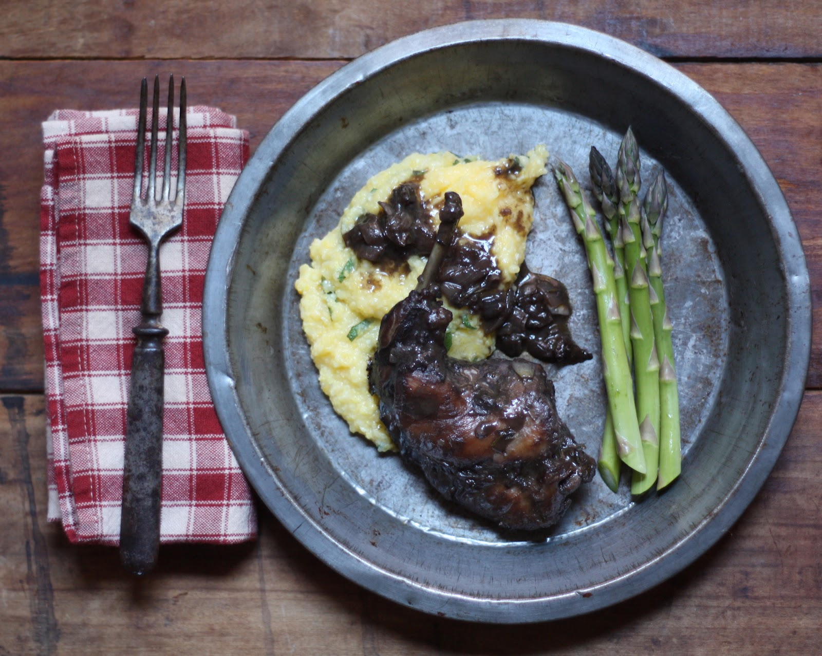 Braised Rabbit in Red Wine with a Sage Polenta