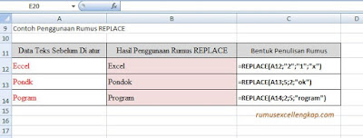 contoh data rumus Replace