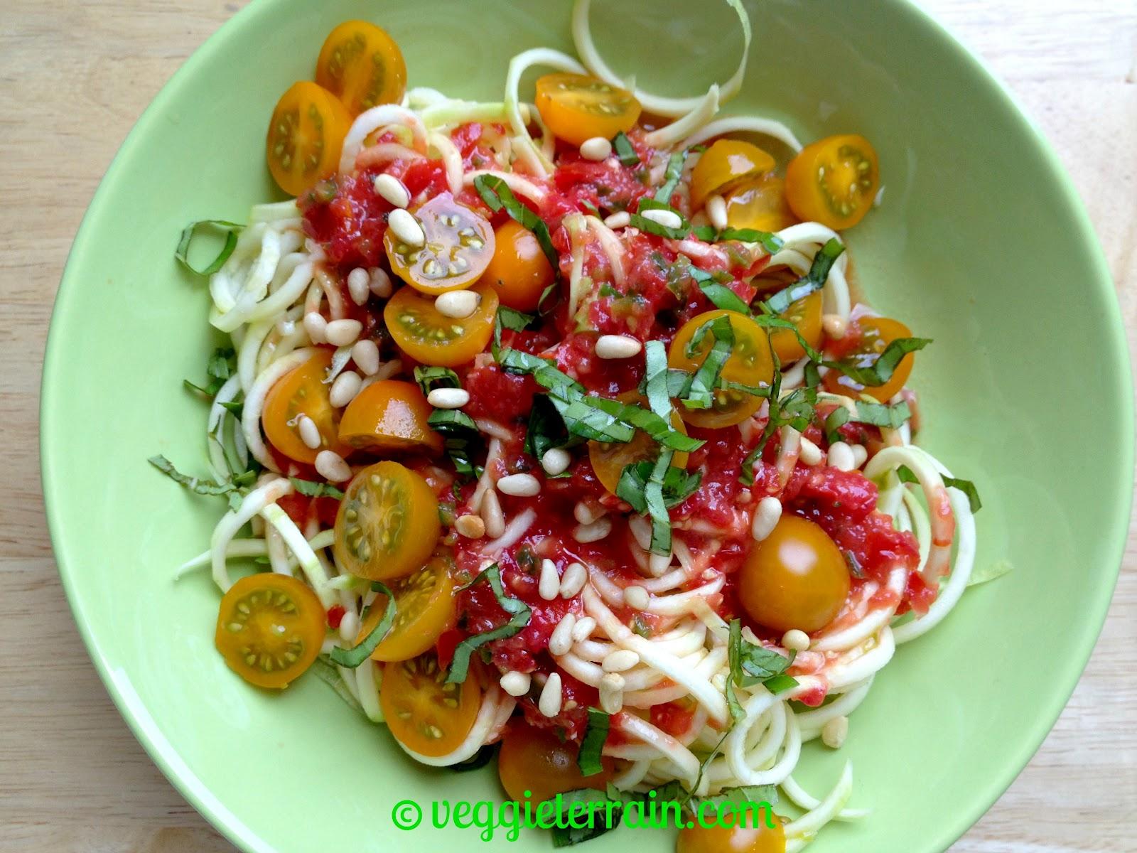 Veggie Terrain: {VeganMoFo} Raw Zucchini Pasta w/ Fresh Tomato Sauce
