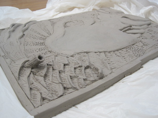 Way Wac Wa Art Relief Sculpture With Clay