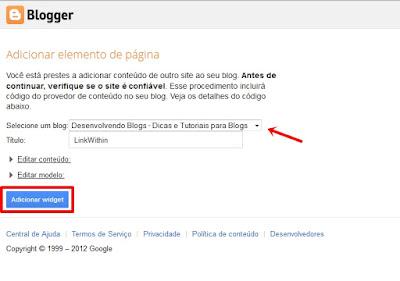 adicionar widget no blogger