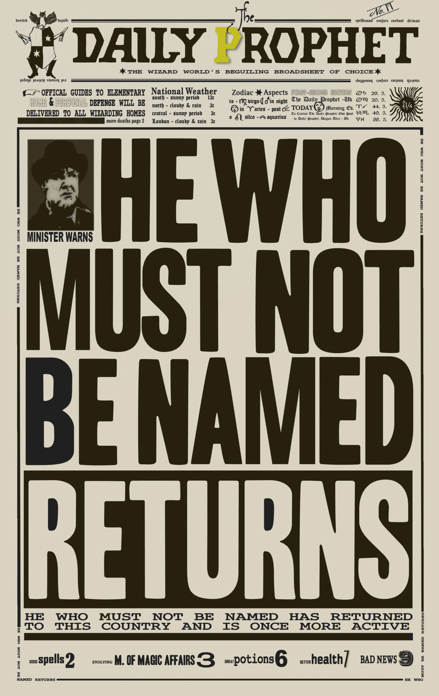 This is a photo of Terrible Harry Potter Daily Prophet Printable