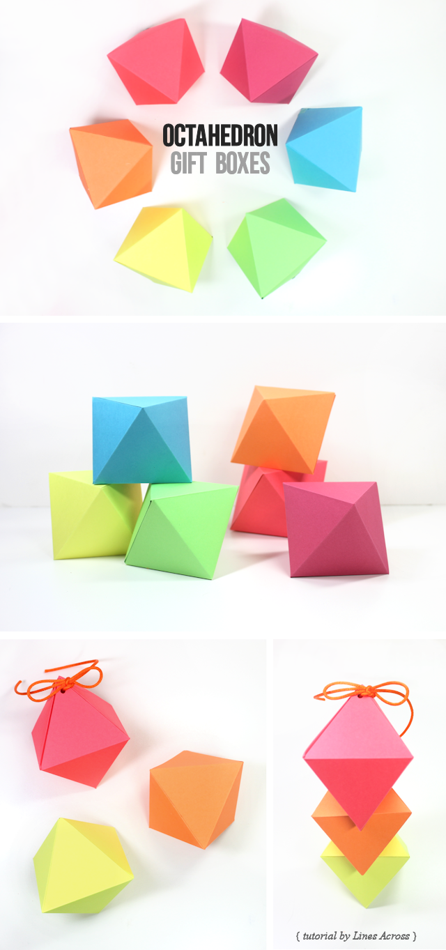 Diy diamond gift boxes with free printable octahedron - Template for small gift box ...