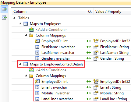 entity framework entity splitting example