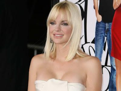 Anna Faris in knee-length strapless white dress