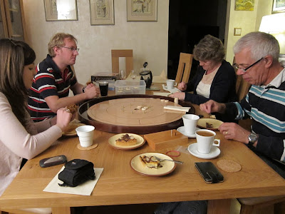 Crokinole - Now are we here to play games or eat food - looks like eat food!