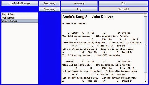 RoboTar: Accessible guitar system. Software screenshot of Annie's Song 2 John Denver.