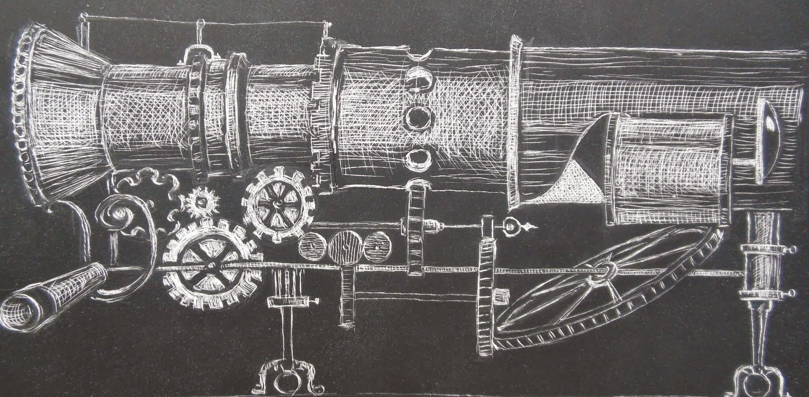 Illustration on scratch board
