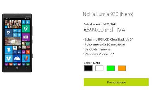 In prevendita in Italia il nuovo smartphone windows phone 8.1 Nokia Lumia 930