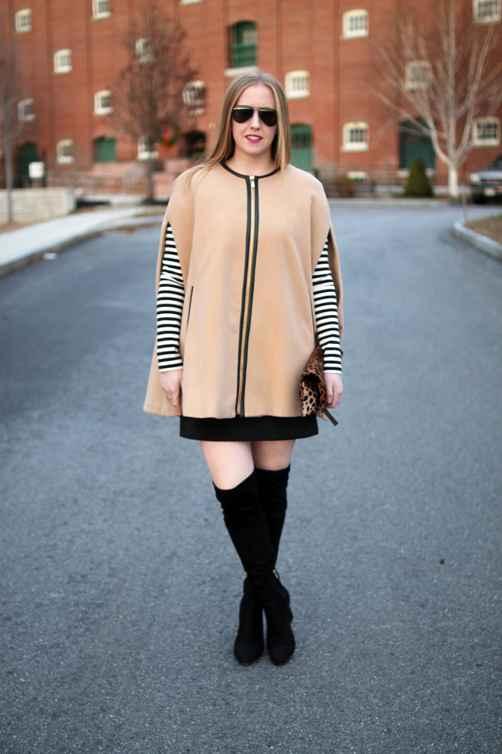 nude cape, black dress, stripes, boston blogger style, style blogger, over the knee boots, layers,