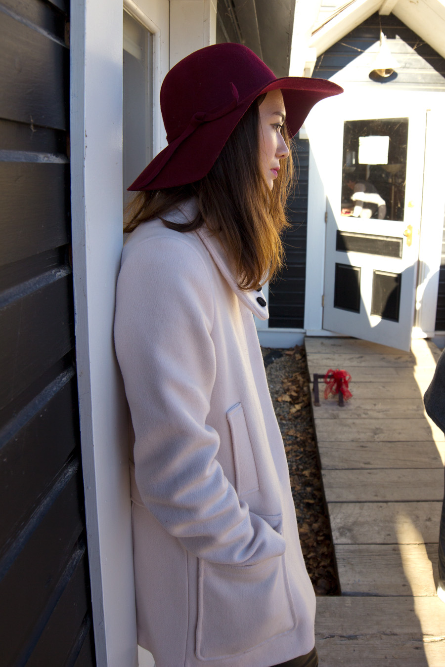 felt hat, blush coat, leather pants, winter fashion, personal style