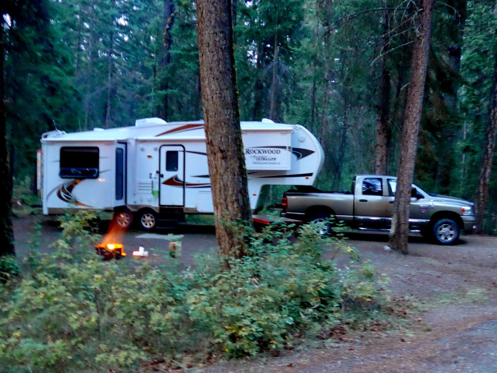 Camp set up at Lac La Hache Provinical Park. Wonderful.