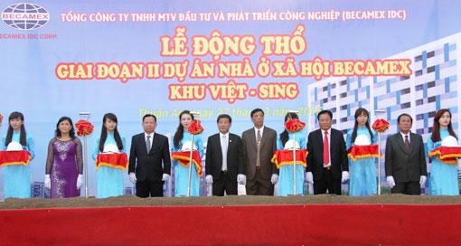 Lễ động thổ nhà ở xã hội Becamex tại KDC Việt Sing, Thuận An, Bình Dương.