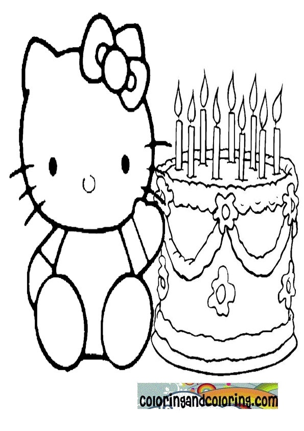 Hello Kitty Cake Coloring Pages : Hello kitty numbers printables new calendar template site