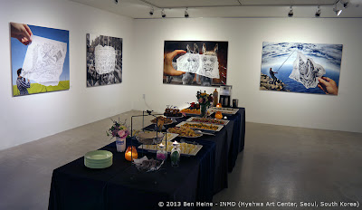 Cold buffet during Ben Heine exhibition
