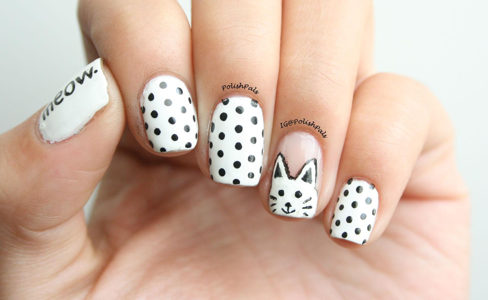 Polish Pals: White Cat and Polka Dot Nails