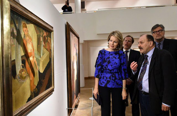 Queen Mathilde of Belgium visits the Nervia/Laethem-Saint-Martin exhibition at the Ixelles Museum Queen Mathilde wore Natan Dress, Earrings, net a porter sale shoes stylebops