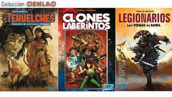 """Colección OENLAO: Libros """"TEHUELCHES"""" """"LEGIONARIOS. LOS PERROS DE ROMA"""" """"CLONES Y LABERINTOS"""""""