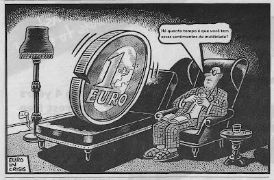 Euro, Cartoon, Crise, Inutilidade