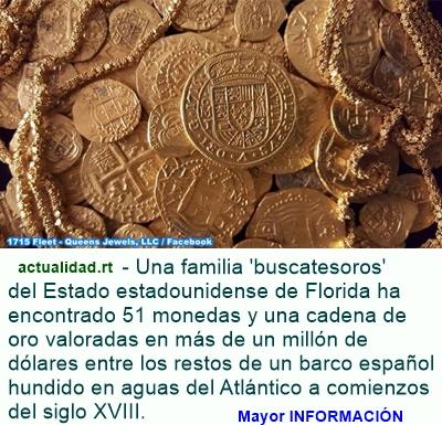 MUNDO: Familia de EE.UU. halla el valioso tesoro de un barco español hundido en 1715