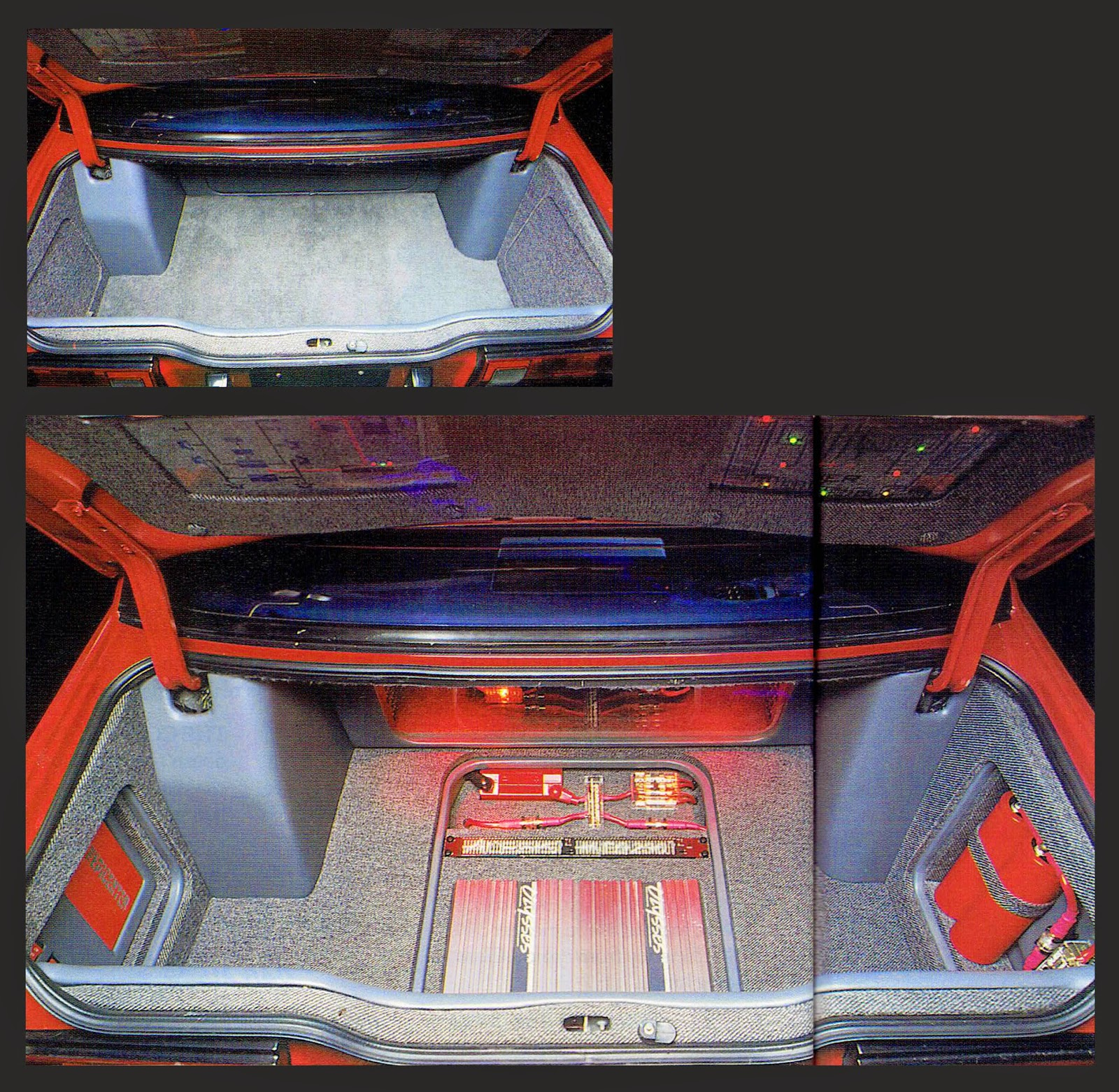 Composite image of Alberto A Lopez Sentra's trunk with and without stealth covers