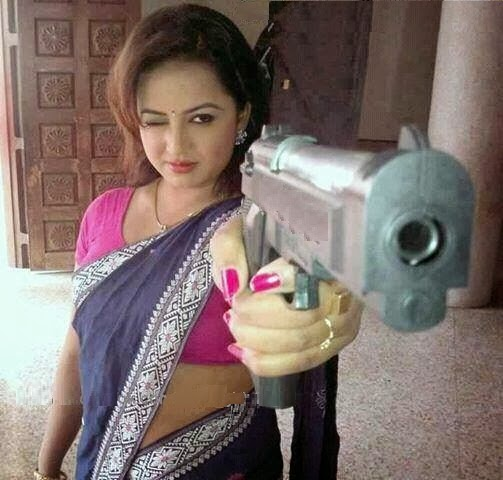 Funny Picture of Indian Women with Gun