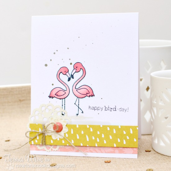 Happy Happy Bird-Day Flamingo Card by Tessa Wise | Flirty Flamingos Stamp set | Newton's Nook Designs