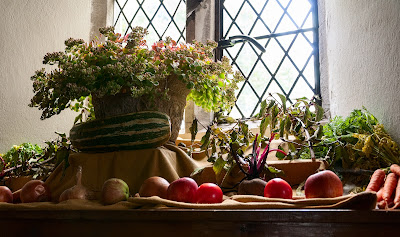 harvest produce in Cusop Church