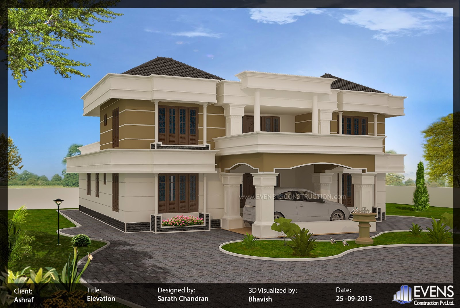 Evens construction pvt ltd modern house design for Exterior house designs indian style