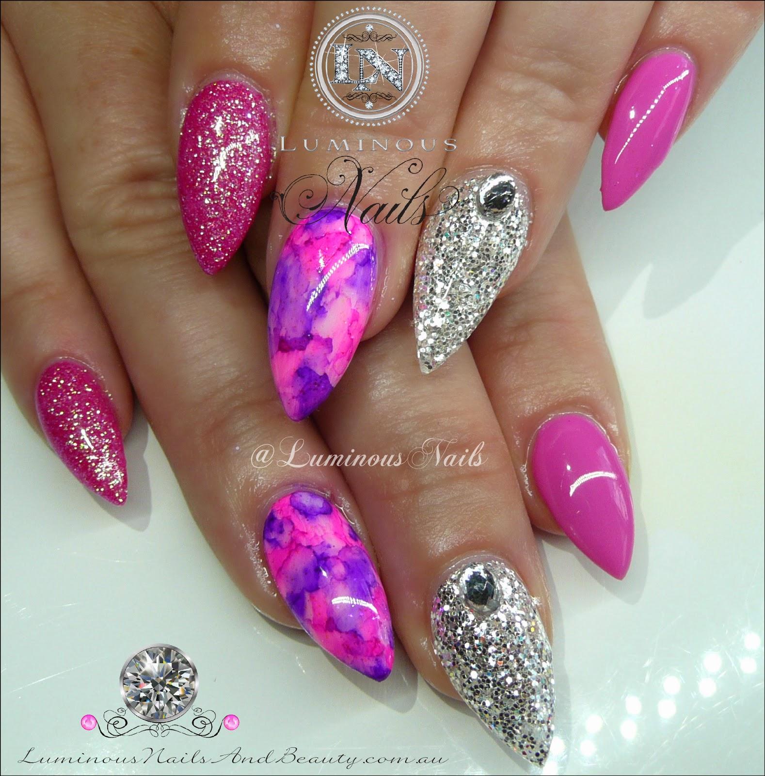 Pink Silver Acrylic Nails