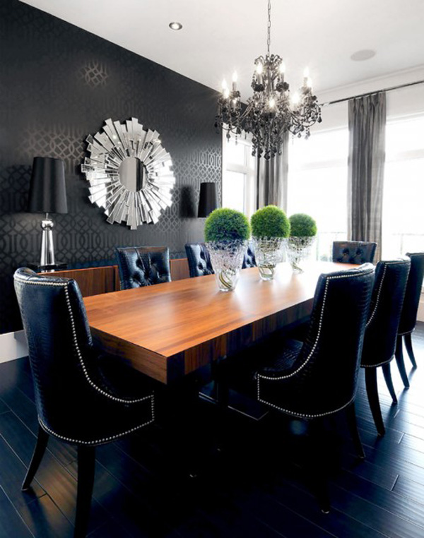 BLACK WALL INTERIORS DESIGN DINNING ROOM FOR A MODERN HOME