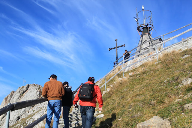 Almost reaching to the top hill to see the overview of Pilatus Kulm (Mount Pilatus) in Lucerne, Switzerland
