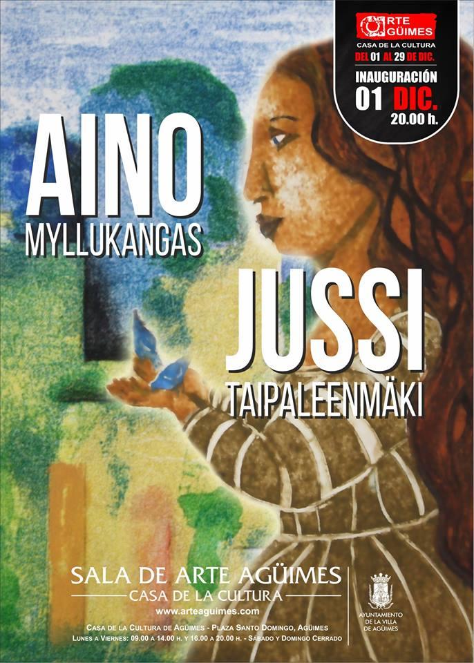 Aino Myllykangas y Jussi Taipleenmäki en la Sala de Arte Agüimes