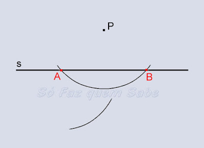 Arco com centro no ponto A, auxiliar na determinação da perpendicular