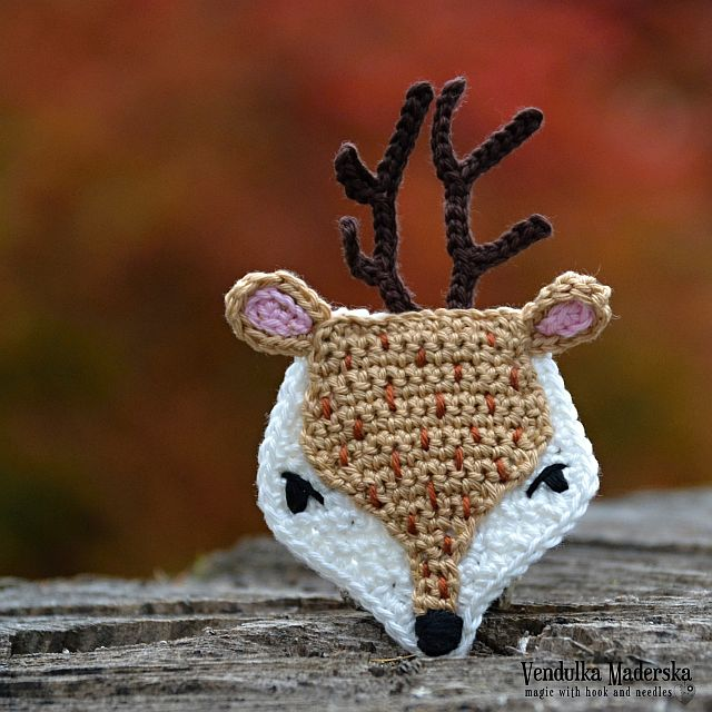 Crochet deer applique pattern by VendulkaM