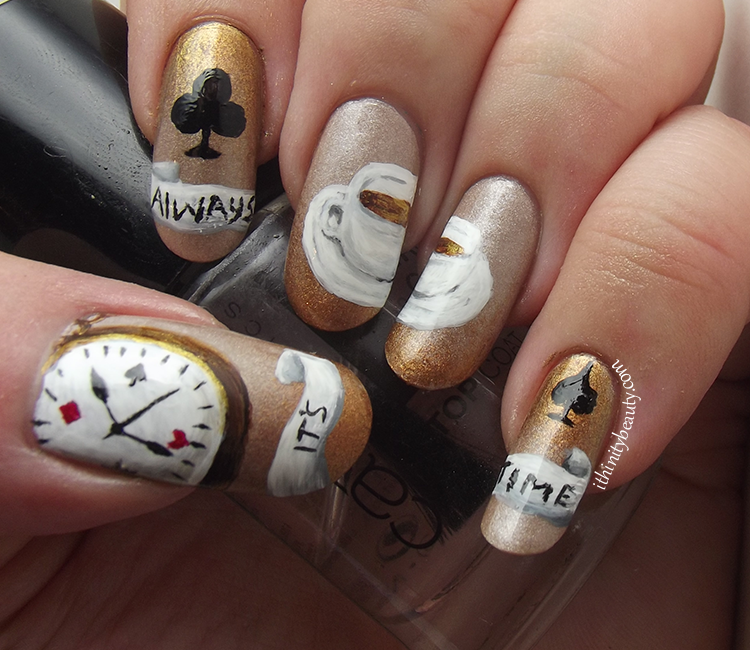 It\'s Always Tea Time - Freehand | IthinityBeauty.com Nail Art Blog