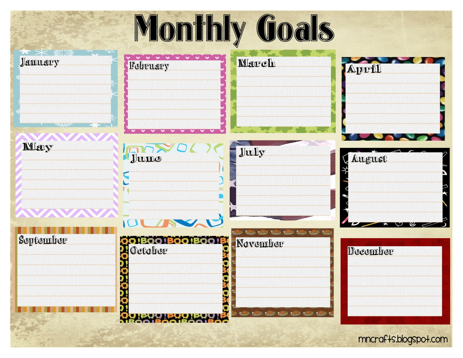 Critical image for monthly goals template