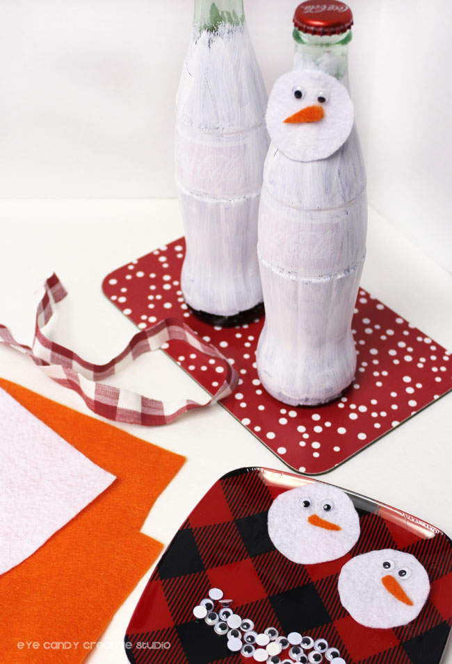 how ro make coca cola bottle snowman craft, gift giving idea
