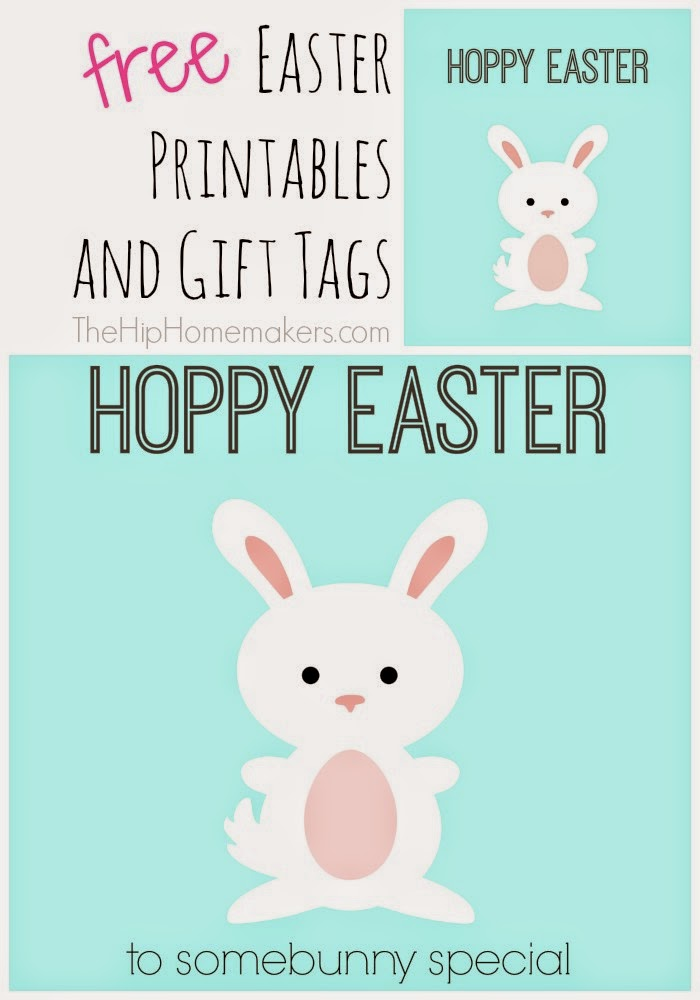 The hip homemakers free easter printables and gift tags square gift tag for these chick hoppy easter printables negle Choice Image