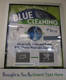Water-based cleaning method explanatory poster with boilerplate INSERT NAME HERE left in by mistake