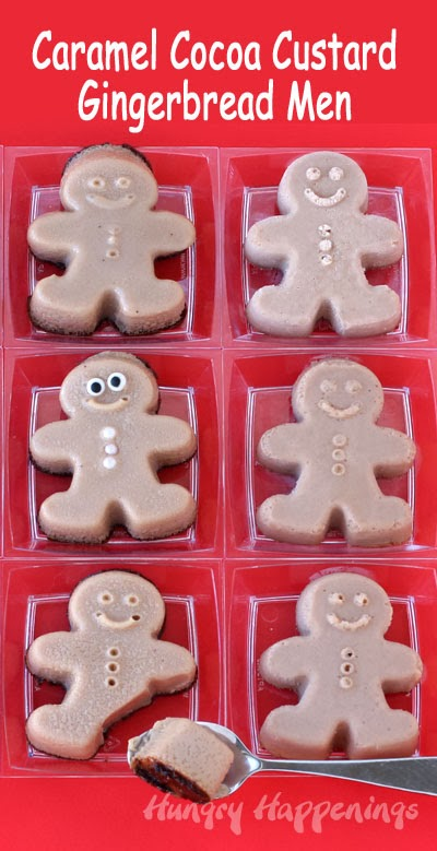 Caramel Cocoa Egg Nog Custard Gingerbread Men | HungryHappenings.com