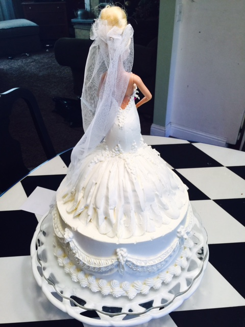 Wedding dress doll cake