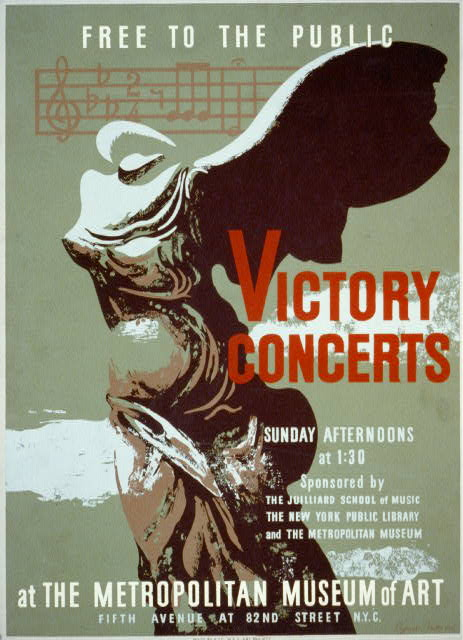 art, music, advertising, vintage, vintage posters, graphic design, free download, retro prints, classic posters, Victory Concerts, At The Metropolitan Museum of Art - Vintage Theater Poster