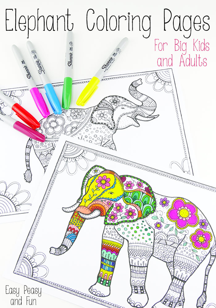 Paisley Elephant Coloring Pages additionally African Elephant Coloring ...