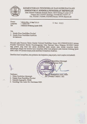 Format Halaman Belakang Ijazah SMK Tahun 2014-2015